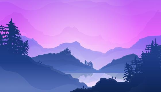 渐变山脉景观背景矢量素材(AI/EPS)