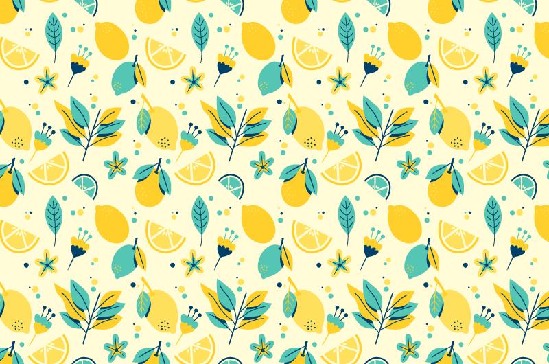 柠檬图案背景/壁纸矢量素材(AI/EPS/免扣PNG)