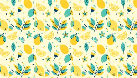 柠檬图案背景/壁纸矢量素材(AI/EPS/PNG)