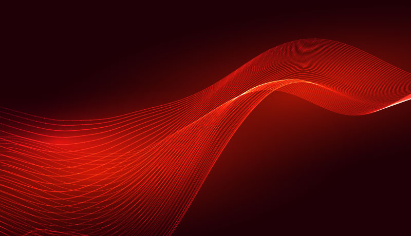红色发光波浪抽象背景矢量素材(EPS)