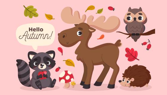 秋天里可爱的动物矢量素材(AI/EPS/PNG)
