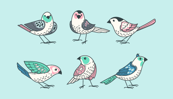 手绘风格的鸟矢量素材(AI/EPS/PNG)