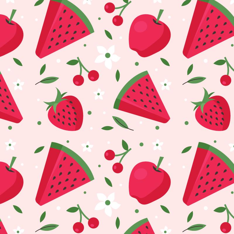 西瓜和草莓图案背景矢量素材(AI/EPS)
