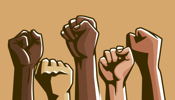 多种族举起拳头团结在一起矢量素材(AI/EPS/PNG)