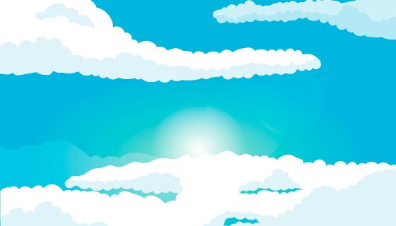 扁平简约蓝天白云背景矢量素材(AI/EPS)