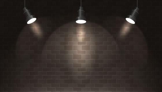 逼真的聚光灯和墙壁矢量素材(AI/EPS)