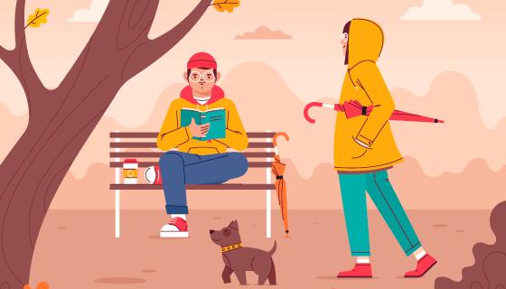 秋天在公园休闲的人们矢量素材(AI/EPS)