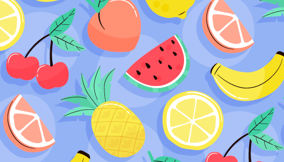 水果图案夏天背景矢量素材(AI/EPS)