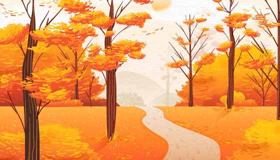 金黄色的秋天背景矢量素材(AI/EPS)