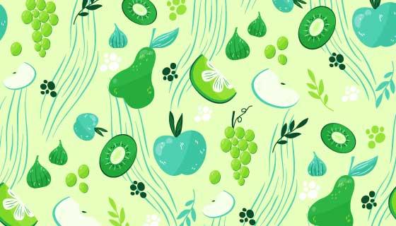 绿色清新水果背景矢量素材(AI/EPS)