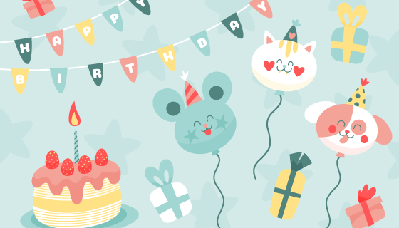 可爱的蛋糕和气球生日快乐背景矢量素材(AI/EPS)