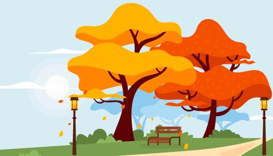 秋天的小径景色矢量素材(AI/EPS)