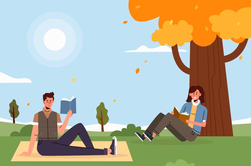 秋天在公园里看书的人们矢量素材(AI/EPS)
