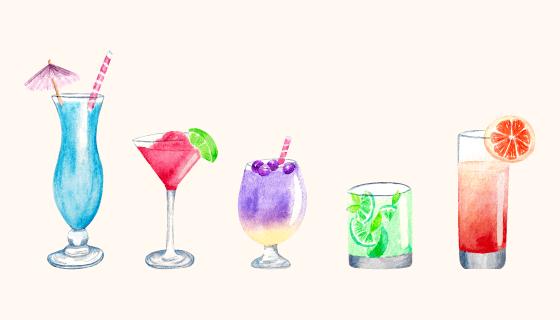 水彩风格鸡尾酒矢量素材(AI/EPS/PNG)