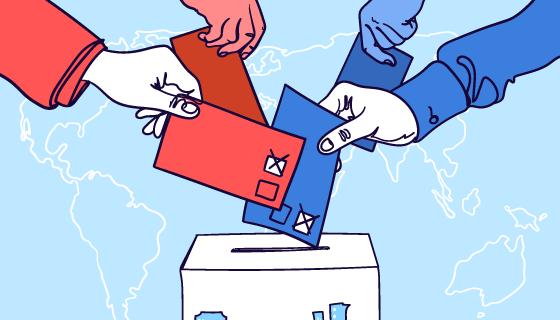 手持选票往投票箱投票矢量素材(AI/EPS)