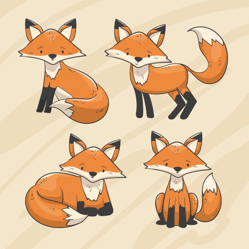手绘风格的狐狸矢量素材(AI/EPS/免扣PNG)