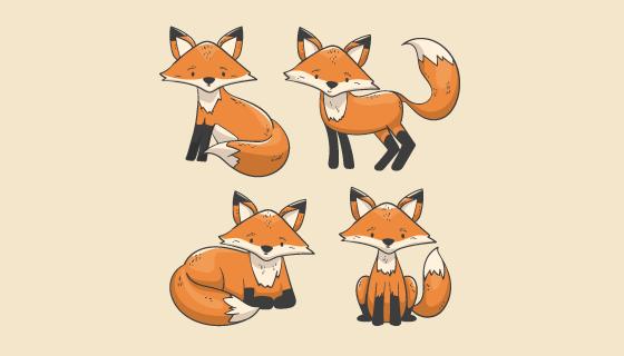 手绘风格的狐狸矢量素材(AI/EPS/PNG)