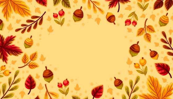 多彩的秋叶和果实秋天背景矢量素材(AI/EPS)