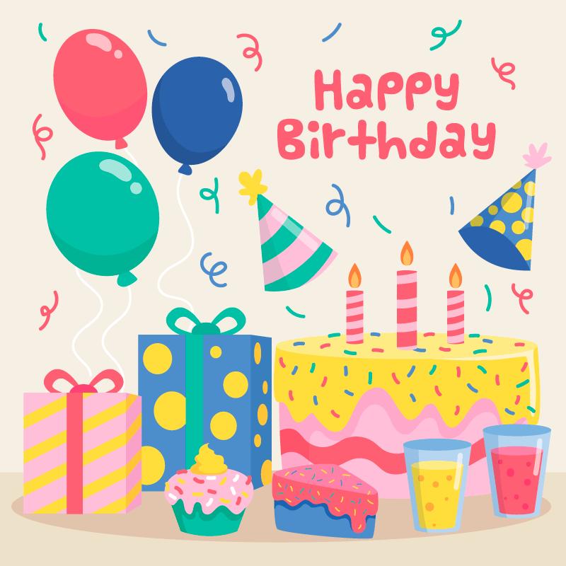 生日蛋糕生日快乐背景矢量素材(AI/EPS/免扣PNG)