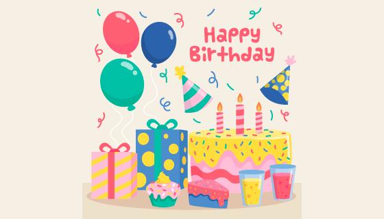 生日蛋糕生日快乐背景矢量素材(AI/EPS/PNG)
