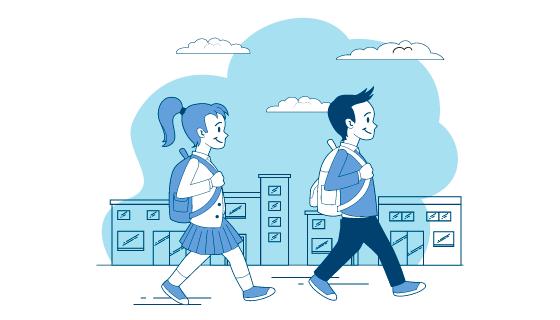 去上学的学生们矢量素材(AI/EPS)