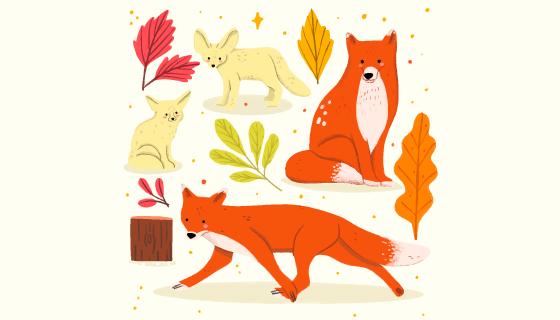 手绘风格秋天的狐狸矢量素材(AI/EPS)