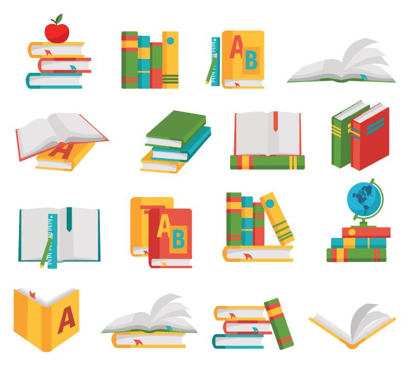 16个教科书图标矢量素材(EPS/免扣PNG)