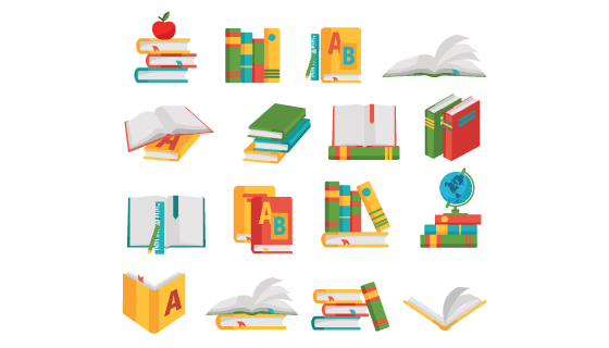 16个教科书图标矢量素材(EPS/PNG)