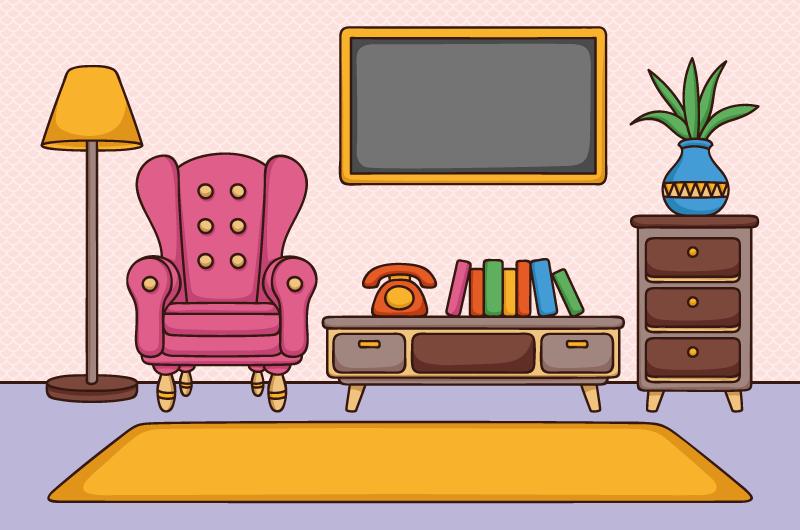 手绘风格家庭客厅矢量素材(AI/EPS)