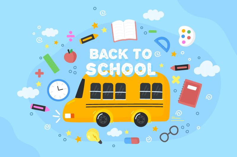 校车和学习工具设计开学返校矢量素材(AI/EPS)