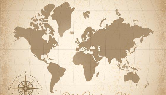 复古风格的世界地图矢量素材(EPS)