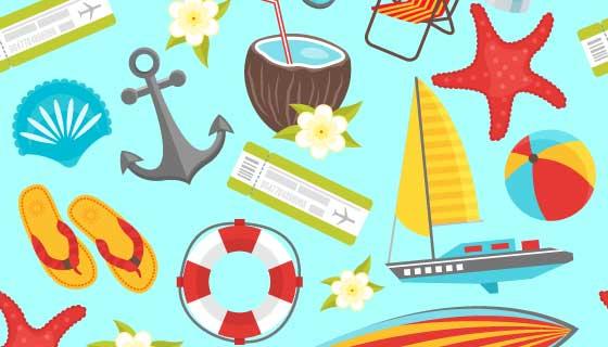 夏季旅行元素矢量素材(EPS)