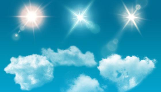 逼真的白云和太阳射线矢量素材(EPS)