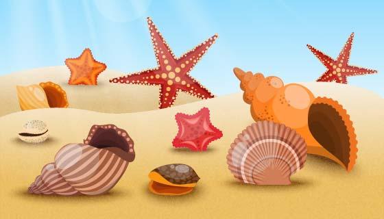 夏天海滩上的海星贝壳矢量素材(EPS)
