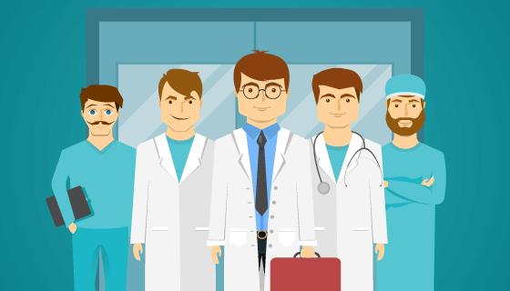主治医生和他的医疗团队矢量素材(EPS)