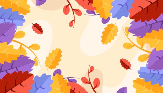 多彩叶子秋天背景矢量素材(AI/EPS)