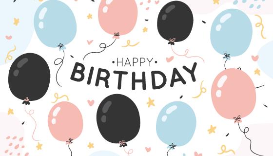 可爱气球生日快乐背景矢量素材(AI/EPS)