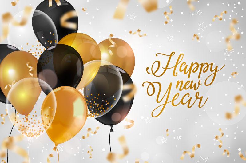 逼真的气球新年快乐背景矢量素材(AI/EPS)