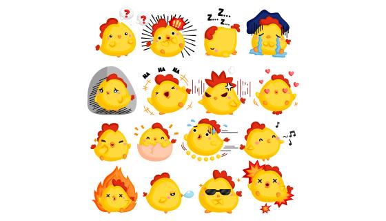 可爱的黄色小鸡表情矢量素材(EPS/PNG)
