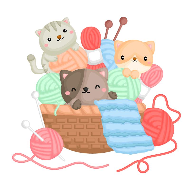 在篮子里玩毛线的猫咪矢量素材(EPS/免扣PNG)