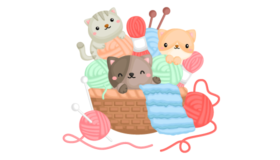 在篮子里玩毛线的猫咪矢量素材(EPS/PNG)
