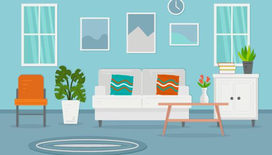 现代风格的客厅矢量素材(AI/EPS)