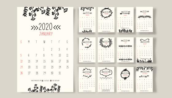 手绘花朵装饰的2020年日历矢量素材(AI/EPS)