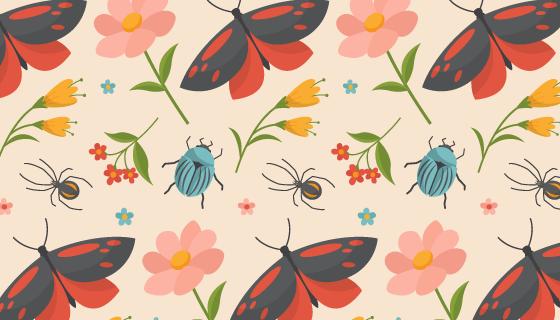 花卉和昆虫图案背景矢量素材(AI/EPS)