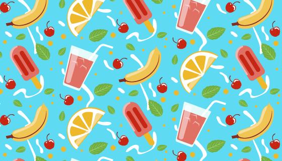 水果饮料夏天背景矢量素材(AI/EPS)