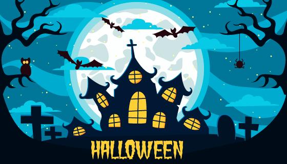 夜空中的月亮和鬼屋万圣节背景矢量素材(AI/EPS)
