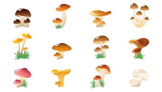 14个可爱的蘑菇免费图标矢量素材(EPS/PNG)