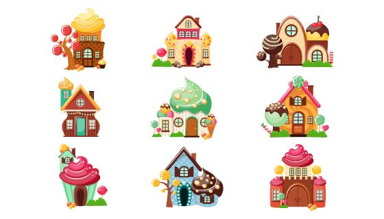 9个漂亮的糖果屋矢量素材(EPS/PNG)
