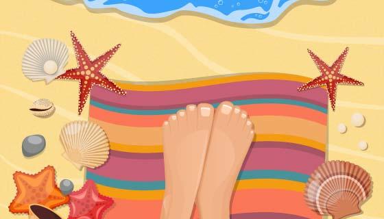 海滩上休闲的腿矢量素材(EPS)