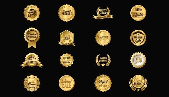 16个豪华的金色徽章矢量素材(EPS/PNG)